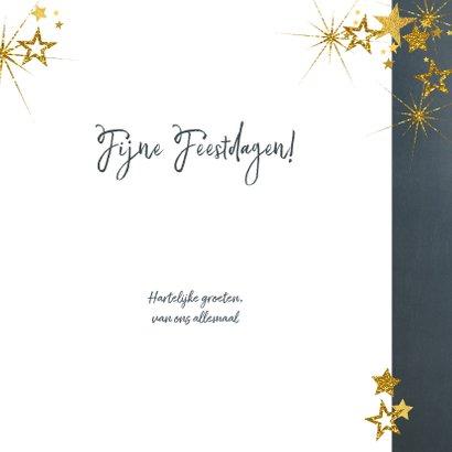 Kerstkaart stijlvol blauw met foto en goud sterren 2022 3