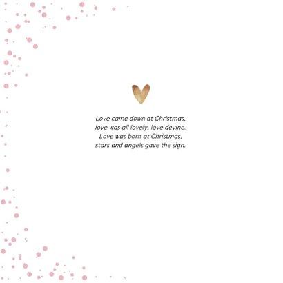 Kerstkaart stijlvol goudlook fotocollage en hartjes 2