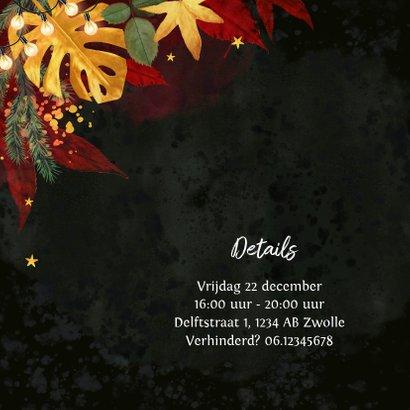 Kerstkaart stijlvol red velvet botanisch goud borrel 2