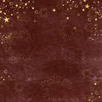 Kerstkaart stijlvol roestbruin gouden sterren en foto 2