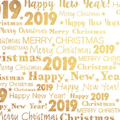 Kerstkaart stijlvolle goudkleurige kaart 2019 2