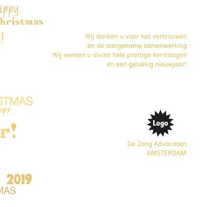 Kerstkaart stijlvolle goudkleurige kaart 2019 3