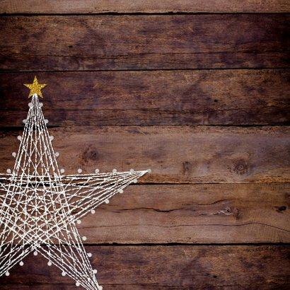 Kerstkaart stoer robuust hout met ster van spijkers en draad 2