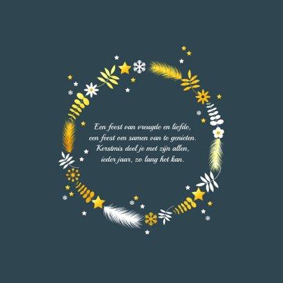 Kerstkaart takjes en sterren in cirkel  2