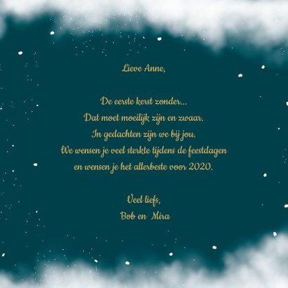 Kerstkaart thinking of you met ster aan de hemel 3