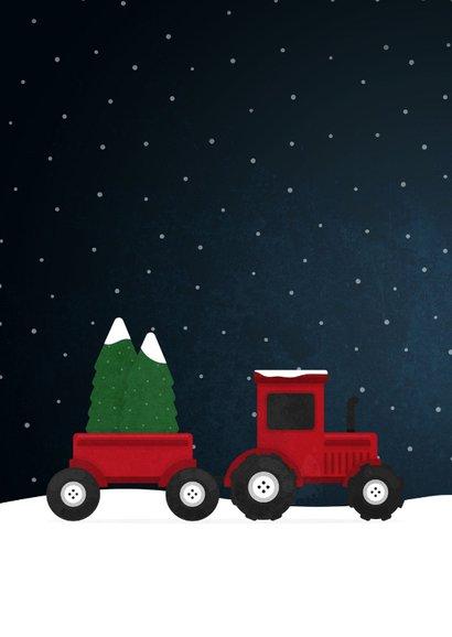 Kerstkaart tractor met foto's en sneeuw agrarisch 2