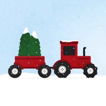 Kerstkaart tractor met kerstbomen en sneeuw agrarisch 2