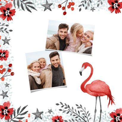 Kerstkaart trend flamingo rood winter bloemen foto 2