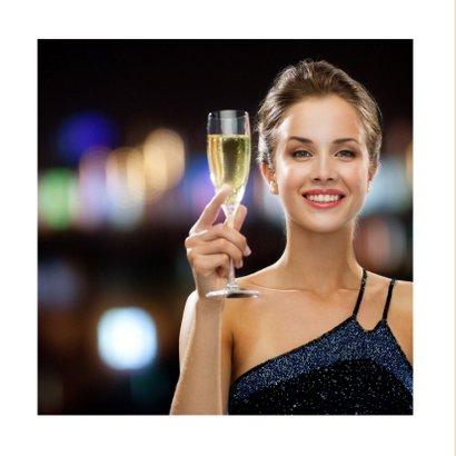 Kerstkaart trendy collage Sparkle Cheers 2