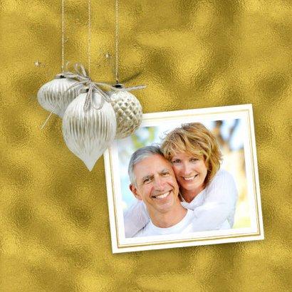 Kerstkaart trendy gold christmasballs 2