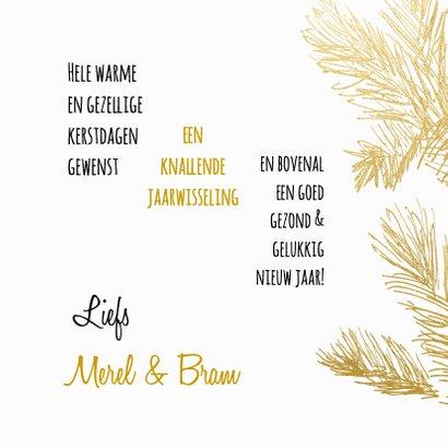 Kerstkaart trendy gouden dennentakken met hert 3