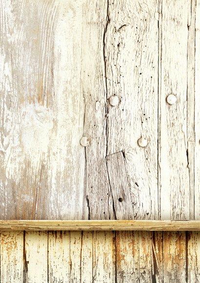 Kerstkaart trendy hout wegwijzer Achterkant