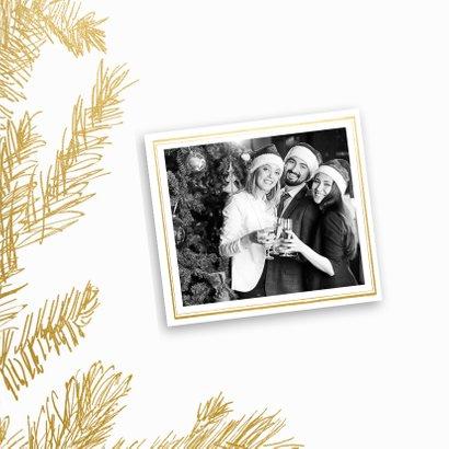 Kerstkaart trendy krijtbord hulst en hert goud 2