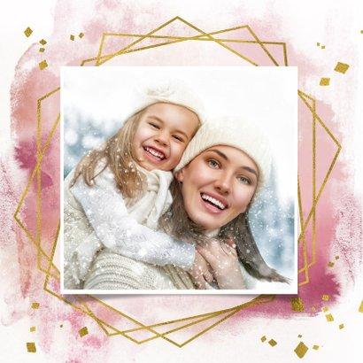 Kerstkaart trendy roze verf strepen, goud kader en sterren 2