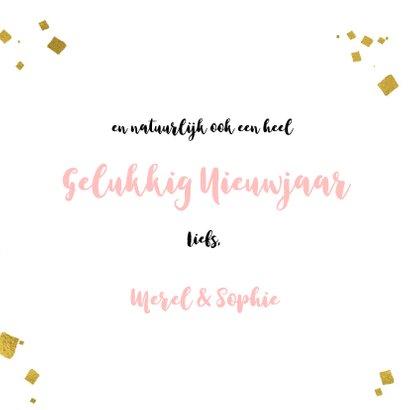Kerstkaart trendy roze verf strepen, goud kader en sterren 3