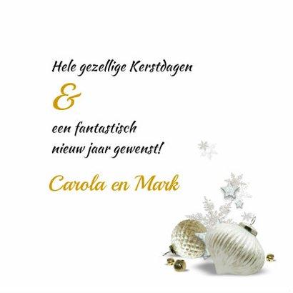 Kerstkaart trendy streep goud witte kerstballen 3