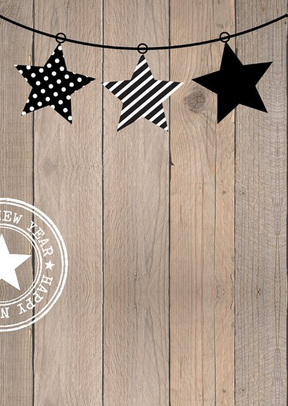 Kerstkaart typografie slinger hout 2