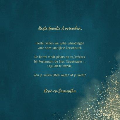 Kerstkaart uitnodiging kerstborrel waterverf gouden spetters 3