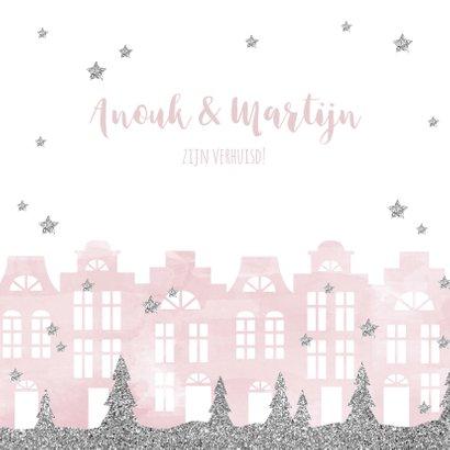 Kerstkaart verhuiskaart huisjes aquarel sterren 2