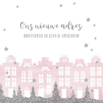 Kerstkaart verhuiskaart huisjes aquarel sterren 3