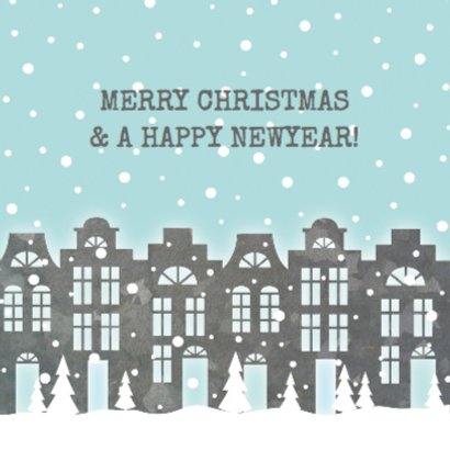 Kerstkaart verhuiskaart huisjes sneeuw foto 2