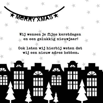 Kerstkaart verhuiskaart zwartwit slingers 2