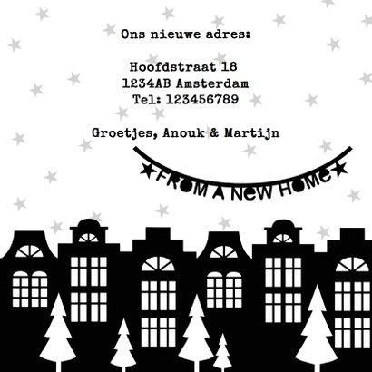 Kerstkaart verhuiskaart zwartwit slingers 3