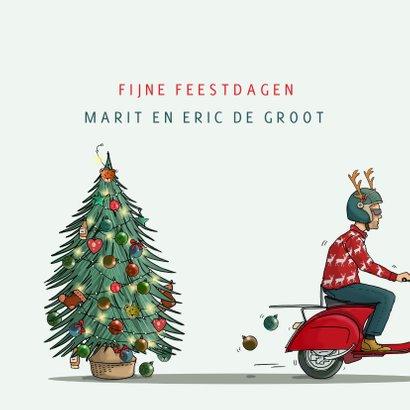 Kerstkaart Vespa scooter met kerstboom 3