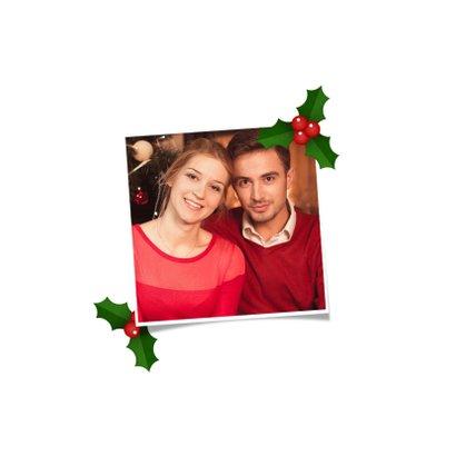 Kerstkaart vierkant grote foto met hulst kader 2