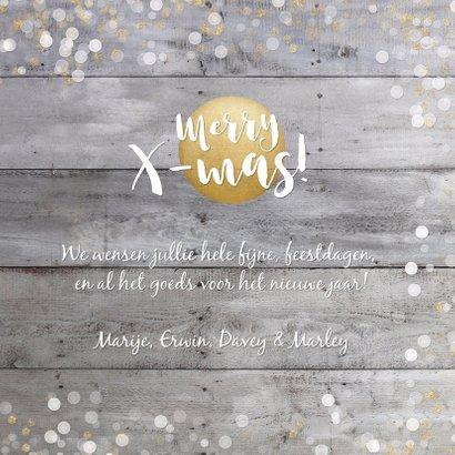 Kerstkaart vierkant met goud en witte confetti en grote foto 3