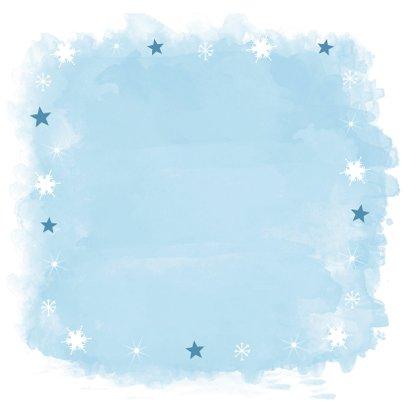 Kerstkaart vierkant watercolour blauw fotocollage 2