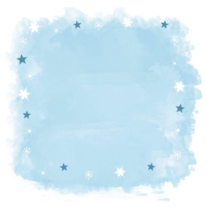 Kerstkaart vierkant watercolour blauw fotocollage Achterkant