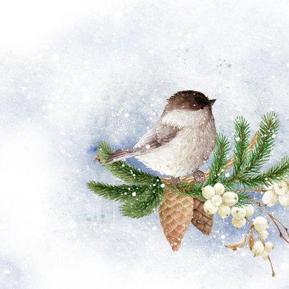 Kerstkaart vogels in de winter 2