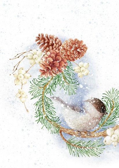 Kerstkaart vogels op kerstkrans in de winter met foto 2