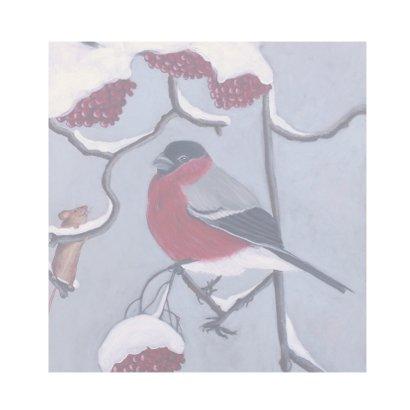 Kerstkaart Vogeltje in de sneeuw 2