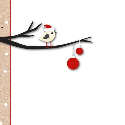 Kerstkaart vogeltje met kerstmuts op 2