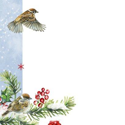 Kerstkaart vogeltjes in sneeuw 2