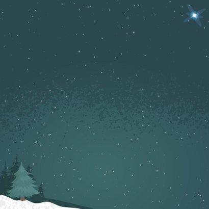 Kerstkaart voor eerste kerst samen met illustratie van beren Achterkant