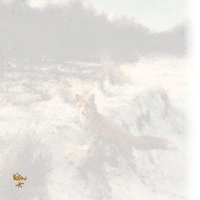 Kerstkaart Vos in open winterbos 2