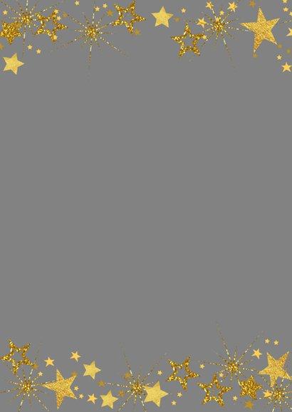 Kerstkaart vrolijk fotokader met goudkleurige sterren 2