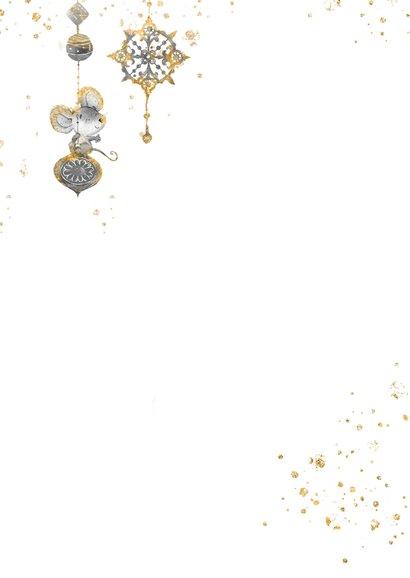 Kerstkaart vrolijk met kerstballen en muisjes Achterkant