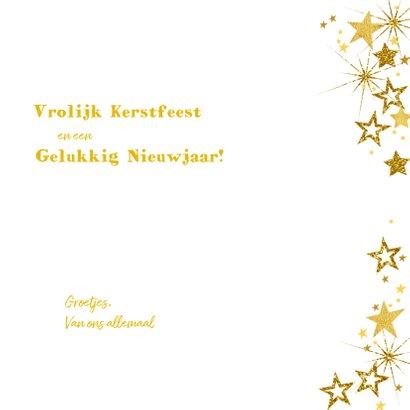 Kerstkaart vrolijke hippe fotokaart met goudkleurige sterren 3