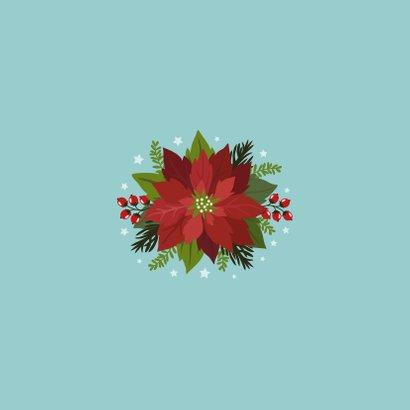 Kerstkaart vrolijke hond, bloemen en planten Achterkant