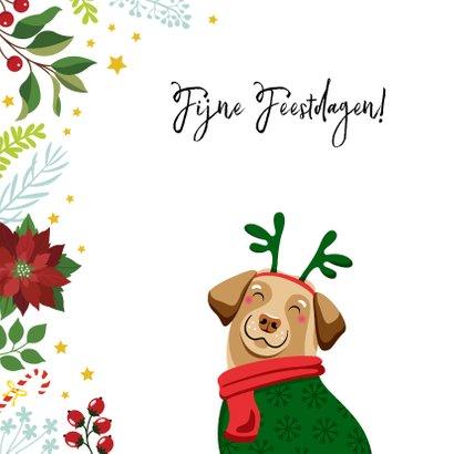 Kerstkaart vrolijke hond en kerststerren 2