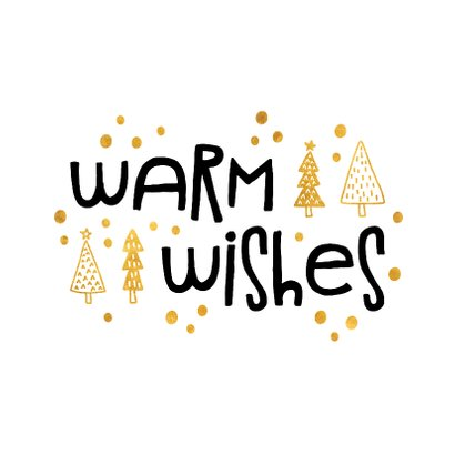 Kerstkaart 'warm wishes' goudlook 2