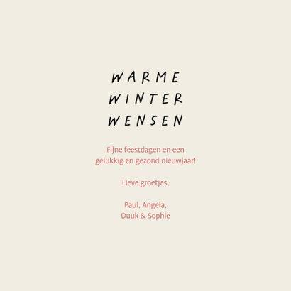 Kerstkaart warme winter wensen met leuke illustraties 3