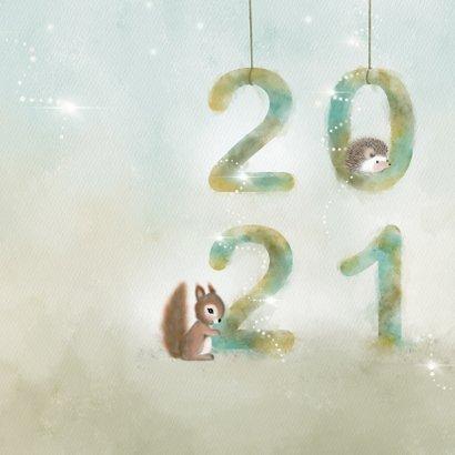 Kerstkaart waterverf 2021 met dieren 2