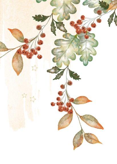 Kerstkaart waterverf bladeren en bessen 2