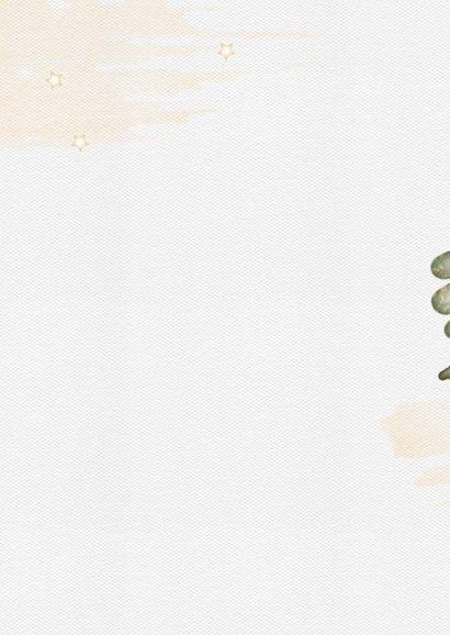 Kerstkaart waterverf bladeren en bessen Achterkant