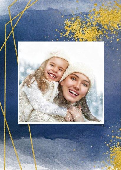 Kerstkaart waterverf blauw met goud spetters en kader foto 2